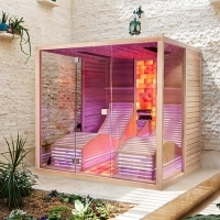 Bio sauna with Himalayan salt wall