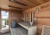 combined sauna with relax bench