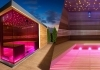 Finnish sauna house with light therapy