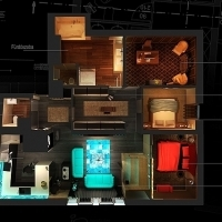 Interior design top view features