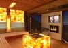 Luxury cube sauna with himalayan salt therapy