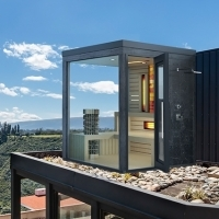 Outdoor color combined sauna with shower and salt wall