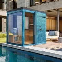 Outdoor color Finnish sauna with shower