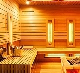 Outdoor combined cedar sauna