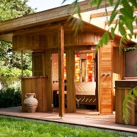Outdoor sauna in garden