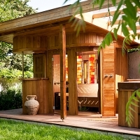 Sauna house in garden